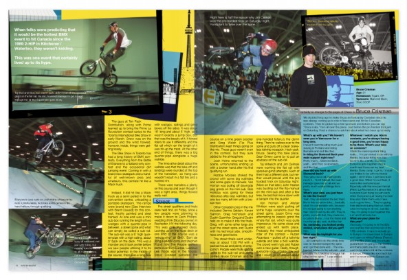 Toronto La Revolution BMX contest; a 6-page article about the inaugural 2001 Toronto La Revolution BMX contest.