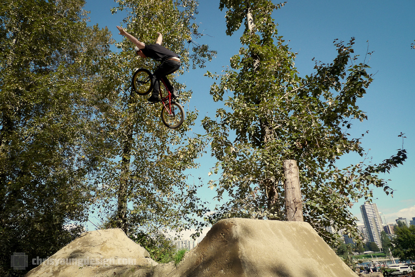 No-hander over the hip at the Vanier Park Dirt Jumps grand opening.