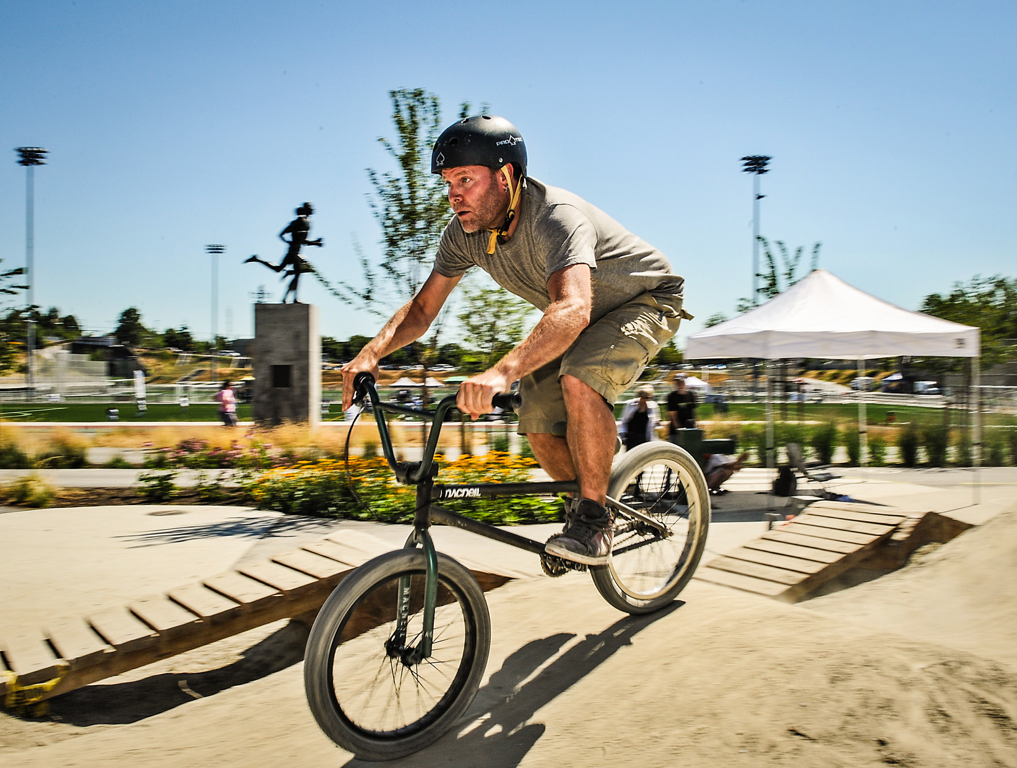 That's me charging the lower line back up to the beginning of the pumptrack on a very hot, dry and dusty day at the Grand Opening.